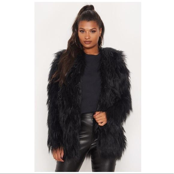 daa0c9ef1573 PrettyLittleThing Jackets & Coats | Black Shaggy Faux Fur Jacket ...